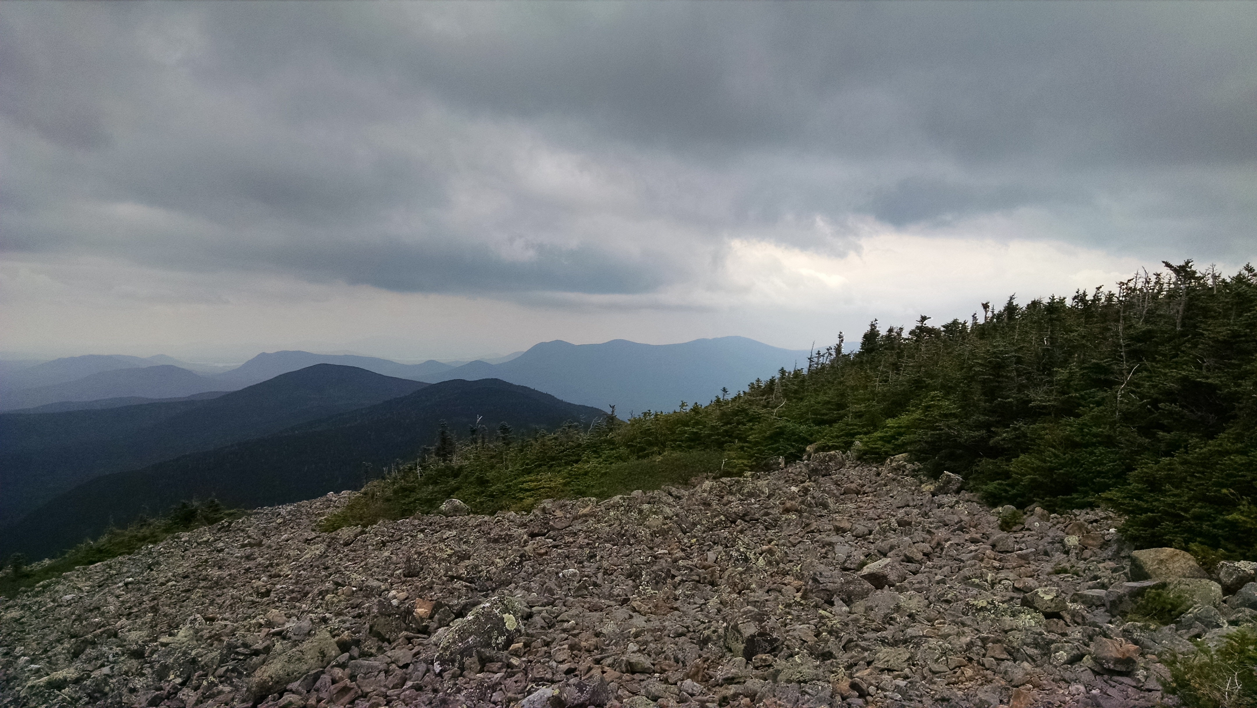View from the summit of White Cap Mountain, west towards West Peak and Gulf Hagas Mountain.