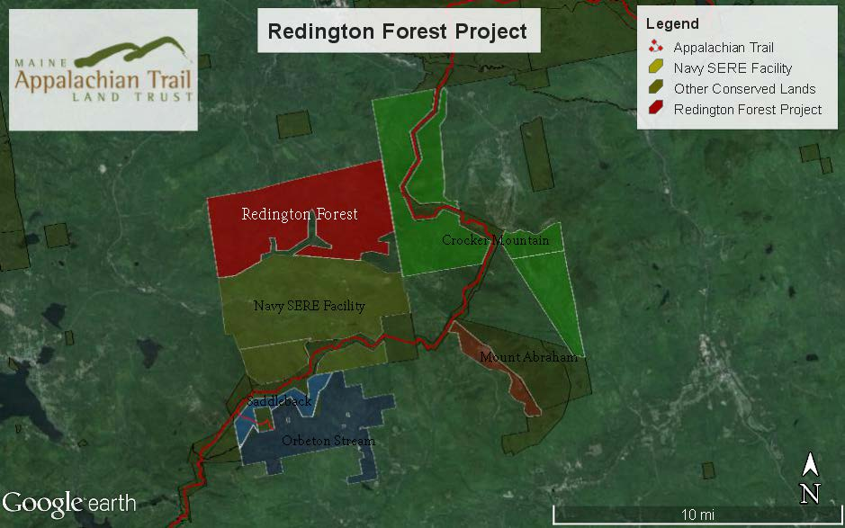 Redington Forest project area.  Also shown are previous Maine Appalachian Trail Land Trust projects.