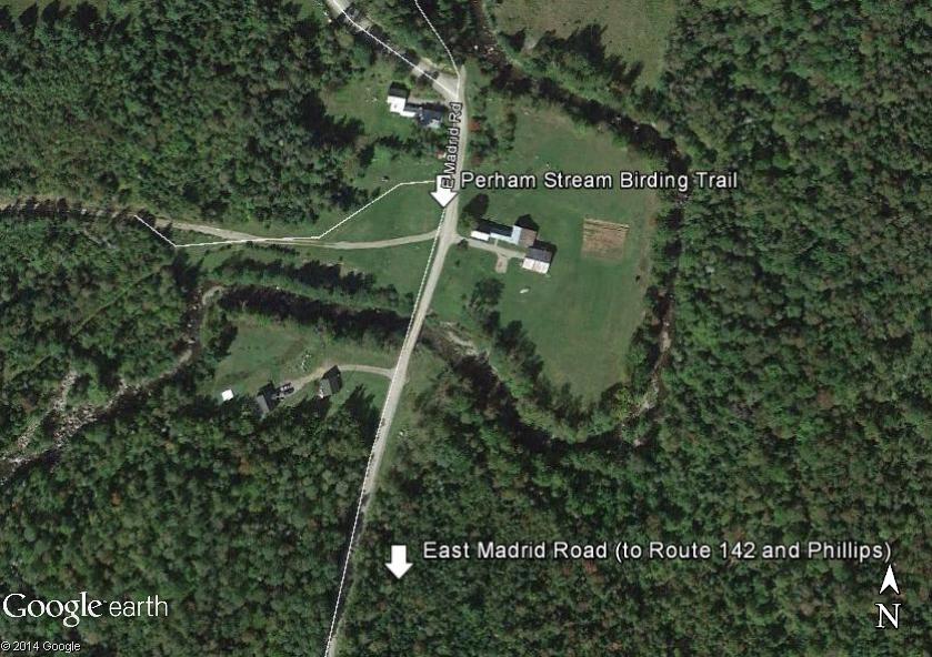 Map of the Perham Stream Birding Trail parking area.