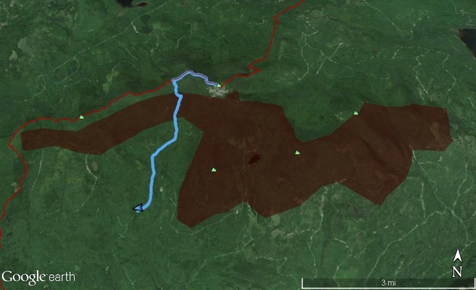White Cap parcel and GPS track of the White Brook Trail.